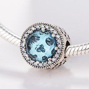 Pandora Glacier Blue radiant hearts charm